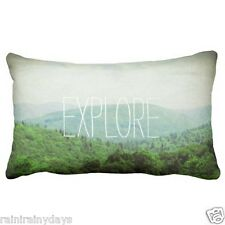 EXPLORE Lumbar pillow with faux jean backside, photography by Lisa Casineau