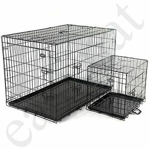Dog Cage Pet Puppy Metal Training Crate Carrier Black S M L XL XXL sizes Easipet