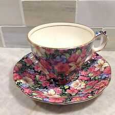 Vintage Royal Winton Chinz Florence gilded Teacup and Saucer  England