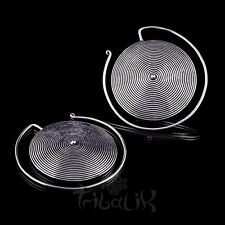 TABOO Spiral Disc Earrings, Silver plated white bronze earrings (Code 243)