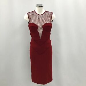 New Burberry Prorsum Dress Fit & Flare Red Sleeveless Fish Net Zipped 010880