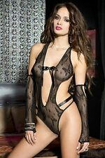 Black Lace Open Back Teddy Body + Arm Warmers Set Sexy Designer Lingerie P58035