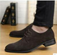 Retro Mens faux suede casual lace up formal business Round Toe oxford dress shoe