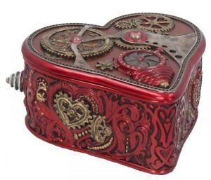Nemesis Now - Steampunk Heart Box 10.5cm Love Red Gears Valentine Storage Gift