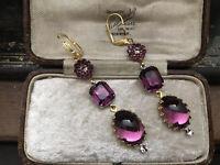 Vintage Gold Amethyst Oval Cabuochon & Crystal Drop Pierced Earrings. Haskell
