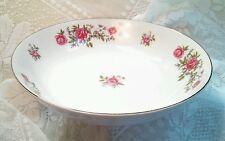 "Vintage ROSE ANN Pink Roses 9"" Vegetable Serving Bowl NASCO Japan Gold White"