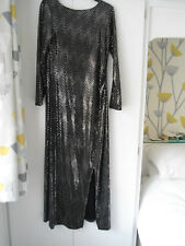 Wallis petite size 14 long sequin black and silver sequin dress, party, cruise