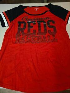 Womens Genuine Licensed MLB Cincinnati Reds Logo Sport Top With Lots Of Bling