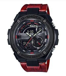 Casio G-Shock G-STEEL *GST210M-4A Black Steel Gloss Marble Red Resin Watch