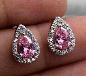 18K White Gold Filled Pink Pear Shape Teardrop & Crystal CZ Stud Post Earrings