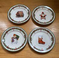 "Christopher Radko HOLIDAY CELEBRATIONS 8 3/8"" Assorted Salad Plates Set of 4"