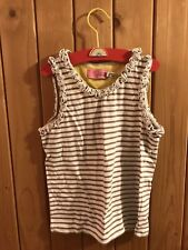 Joules Vest Top Pretty Ruffle sleeves 6-7 yrs Brown stripy