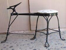 Antique Black Shoe Shine Stool Bench Adjustable Foot Rest Twisted Iron Metal