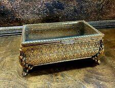 Antique French Beveled Glass Brass Filigree Footed Casket Jewelry Box Ormolu