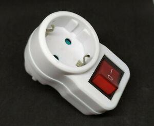 👍 Steckdose mit Schalter, Zwischen-Stecker, 230V, beleuchtet, Kindersicherung