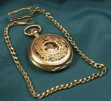 Mechanical 18k Gold Plated Fob Watch Open Back Stunning