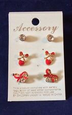 3 Pairs Girls Beautiful Golden Red Crystal Enamal Heart,Bow and Stud Earrings
