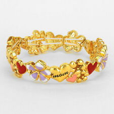 Mom Bracelet Pink Red Purple Hearts Stretch Bangle Flowers Mother Family GOLD