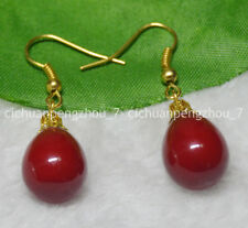Natural 12x16mm Red South Sea Drop Shell Pearl Dangle Gold Plated Hook Earrings