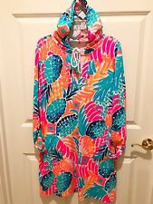 NWT Lilly Pulitzer UPF 50+ Rylie Cover Up Dress with tassel drawstring hood LG