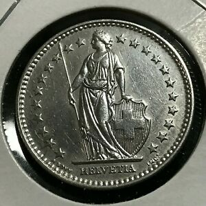 1921 SWITZERLAND SILVER 2 FRANCS COIN BRILLIANT UNCIRCULATED