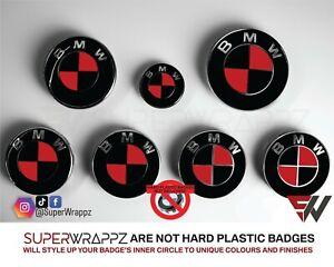 BLACK & RED MSPORT Badge Emblem Overlay WRAP FOR BMW HOOD TRUNK RIMS FIT ALL BMW