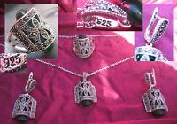 silbernes ART DECO SET 925 Ohrringe Ring Anhänger Markasiten Turmaline ? grün