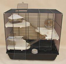 Hamsterkäfig XXL Teddy Gigant 54 cm Höhe beige schwarze Schale
