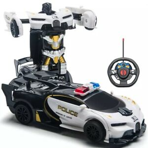 Toys for Boys Age 3 4 5 6 7 8 9 Year Old Kids Police Car Transformation RC car