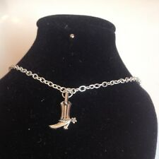 cow boy boot necklace 18 inch chain silver plated