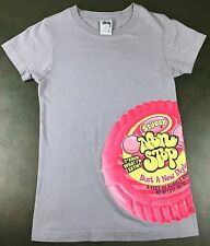Vintage Women's 90s Girls Stussy Non Stop Bubble Gum Graphic Gray T-Shirt S