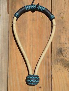 "Jose Ortiz 1/2"" Natural Rawhide Bosal Black/Turquoise Leather Nose/Knot 18 Plait"