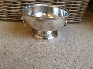 Vintage Silver Plated Planter Pot With Lion Head Handles