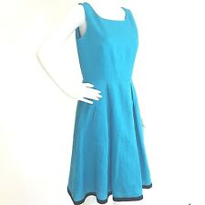 Talbots Dress SIZE 8 Irish Linen Turquoise Fit Flair Sleeveless