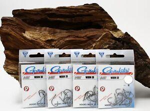Gamakatsu Worm 39 Hook Black Gr. 1 2 3 4 Wurmhaken mit Öhr NEW OVP