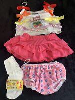 Build A Bear Clothing~Strawberry White Shirt~Pink Lacy Skirt & Undies Socks(LL)