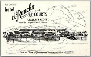 GALLUP, NM Postcard HOTEL EL RANCHO AND COURTS Highway Route 66 Roadside c1950s