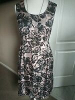 LK Bennett Dress Size 12 100% Silk Pink Black Floral A-Line Sleeveless BN