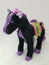 """Groovy Girls 12"""" Tall Horse Black And Purple Plush With Poseable Legs"""