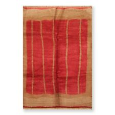 6' x 9' Hand Knotted Tea Wash Hand Carded Wool Tibetan Oriental Area Rug 6x9 Red