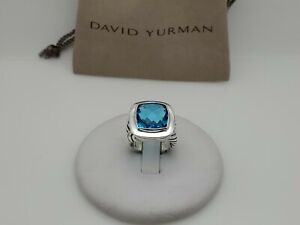 David Yurman Sterling Silver 925 Albion 14mm Blue Topaz Ring Size 7