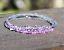 Labradorite Natural Pink Sapphire Long Necklace Wrap Bracelet 14K White Gold