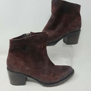 Freebird Womens Salt Ankle Boots Size 6 Red Wine Leather Zip Up Shoes Bootie