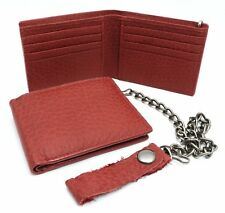 Bifold Red Genuine Leather Wallet with Scale Texture Design with a Chain