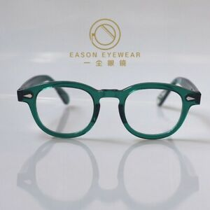 Retro Johnny Depp glasses men's women's green acetate eyeglasses rx lens