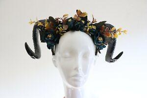 Black Horns Ram Flowers Rose Nymph Forest Goat Headdress Navy Blue Costume