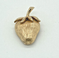 Signed Gorgeous Jewelry Pin Large Gold Tone Metal Brooch Vintage Trifari Strawberry Brooch