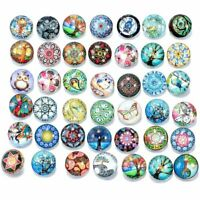 20pcs/lot Mixed Pattern Glass Charms 18mm Snap Button For Ginger Snaps Jewelry