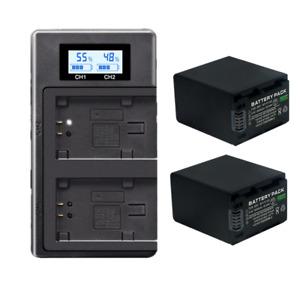2xNP-FV100 Battery +LCD Dual charger for Sony SX83E SX63E FDR-AX100E AX100E HDR