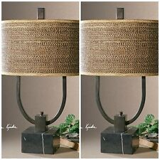 TWO NEW BRONZE METAL TABLE LAMPS BLACK MARBLE FOOT BROWN RATTAN SHADES LIGHTS